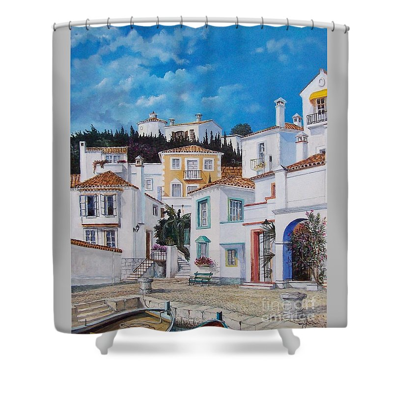 Cityscape Shower Curtain featuring the painting Afternoon Light In Montenegro by Sinisa Saratlic