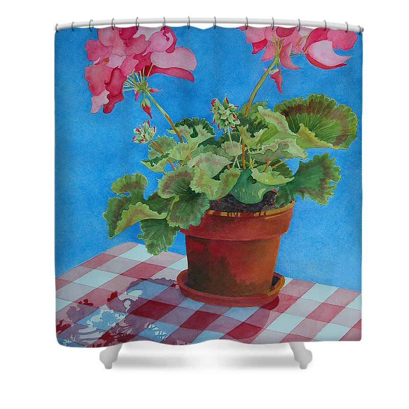 Floral. Duvet Shower Curtain featuring the painting Afternoon Shadows by Mary Ellen Mueller Legault