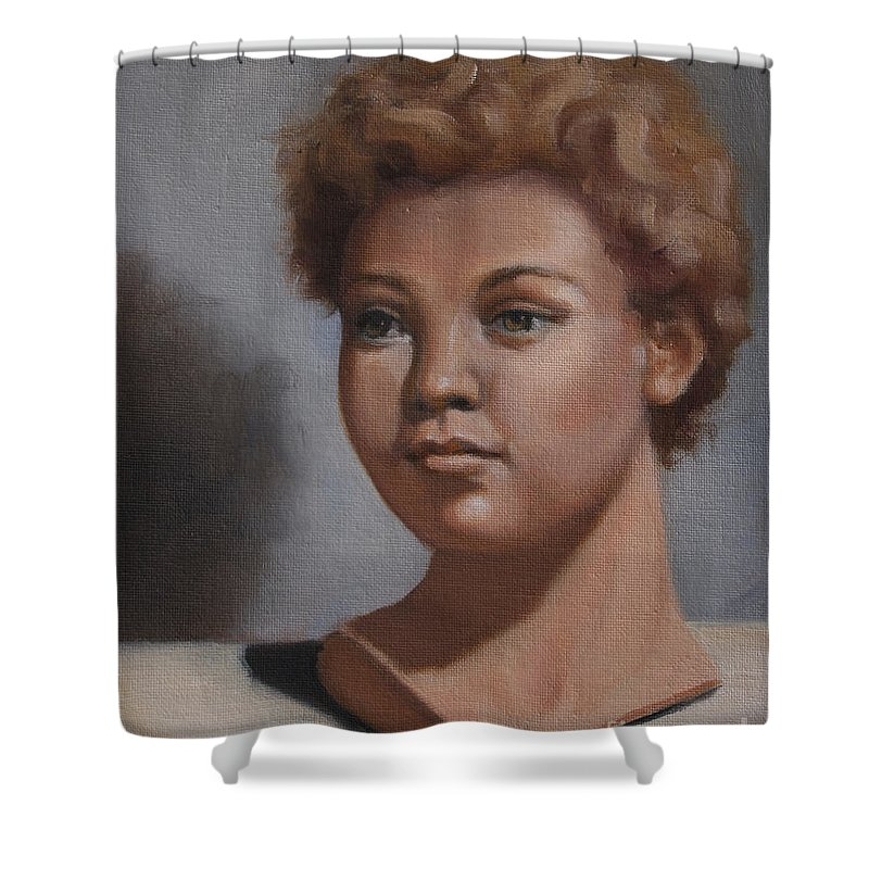 Head Studies Shower Curtain featuring the painting Afternoon Study by Lisa Phillips Owens