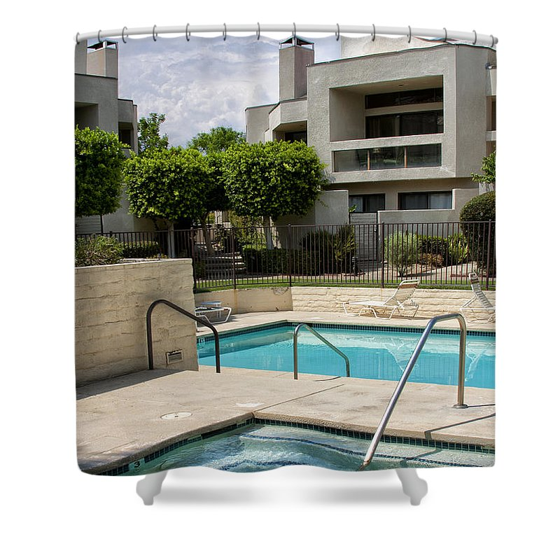 Swimming Pool Shower Curtain featuring the photograph Afternoon Swim Palm Springs by William Dey