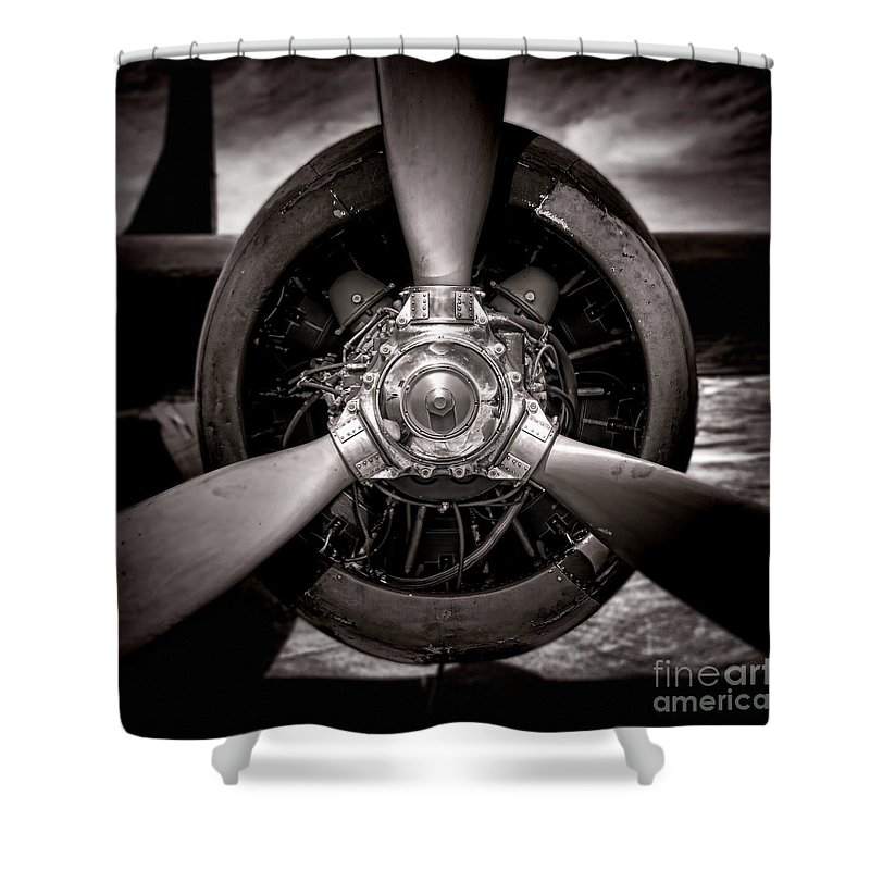 Radial Engine Shower Curtains