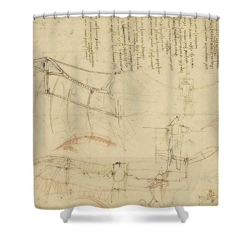 Leonardo Shower Curtain featuring the drawing Aircraft Machine Has Been Reduced To Simplest Shape Wings Directly Put On Human Body By Straps by Leonardo Da Vinci
