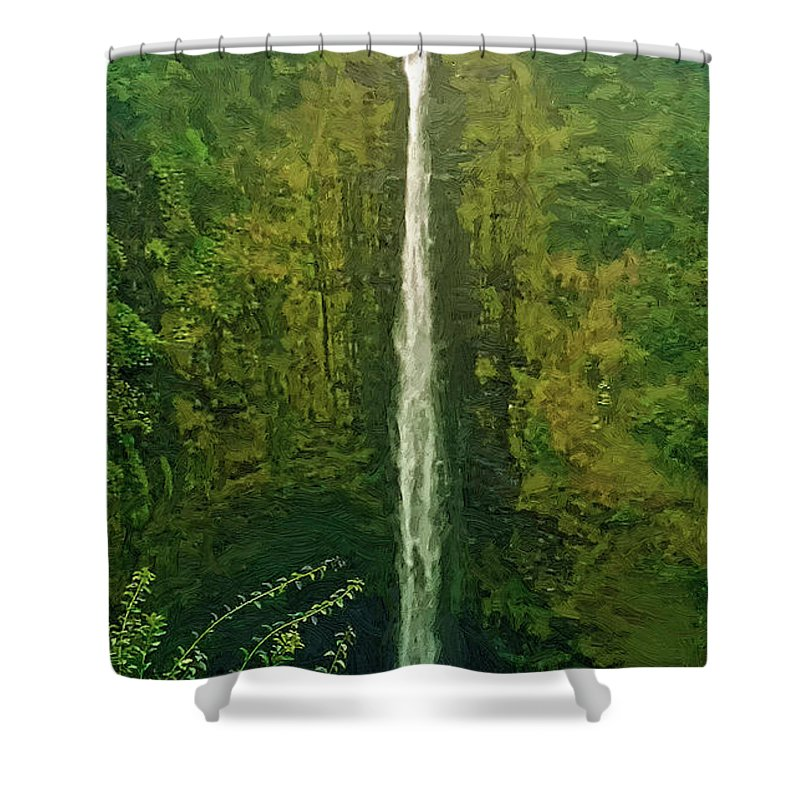 Akaka Falls Shower Curtain featuring the digital art 'akaka Falls by Dale Jackson
