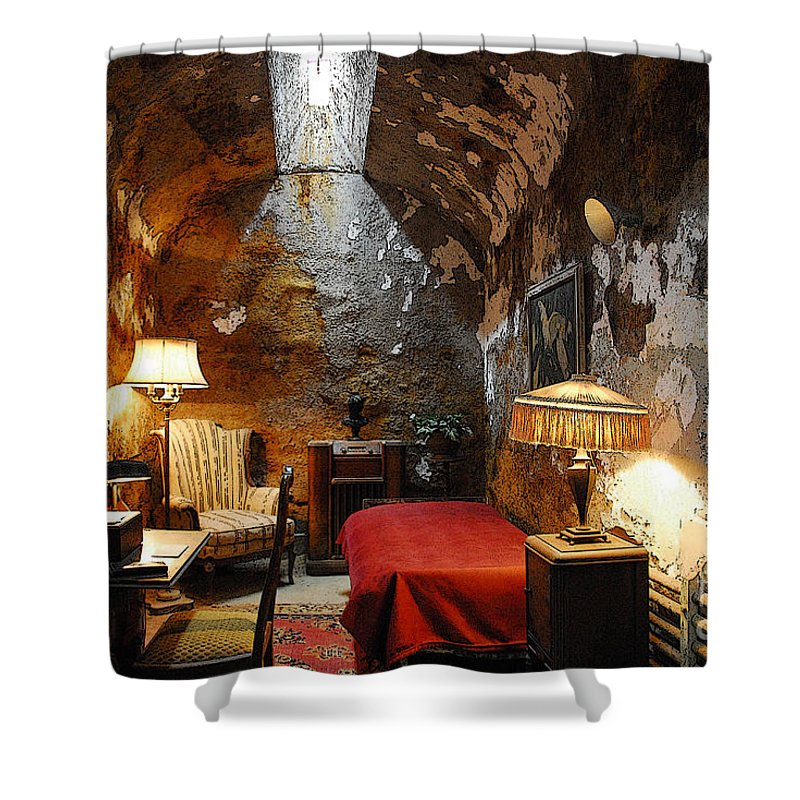 Prison Shower Curtain featuring the photograph Al Capone's Cell by Cindy Manero