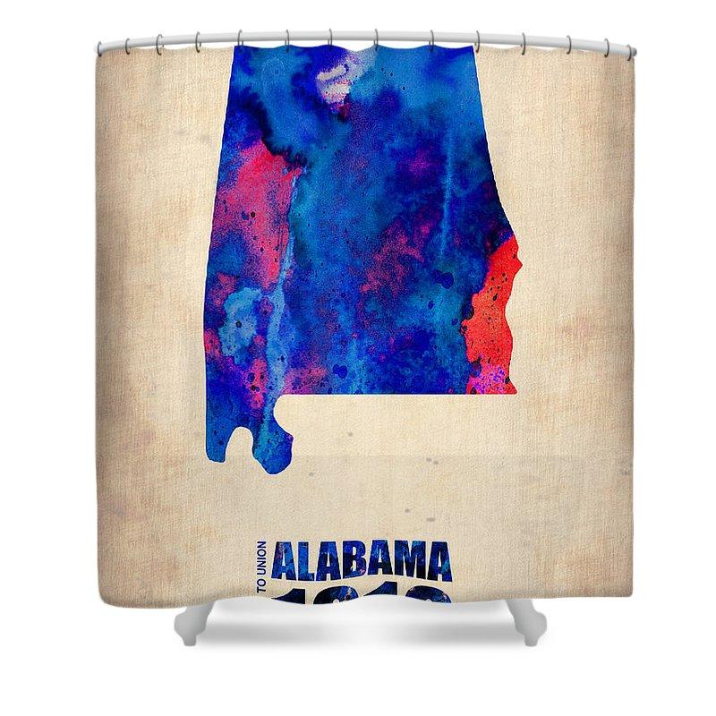 Alabama Shower Curtain featuring the digital art Alabama Watercolor Map by Naxart Studio
