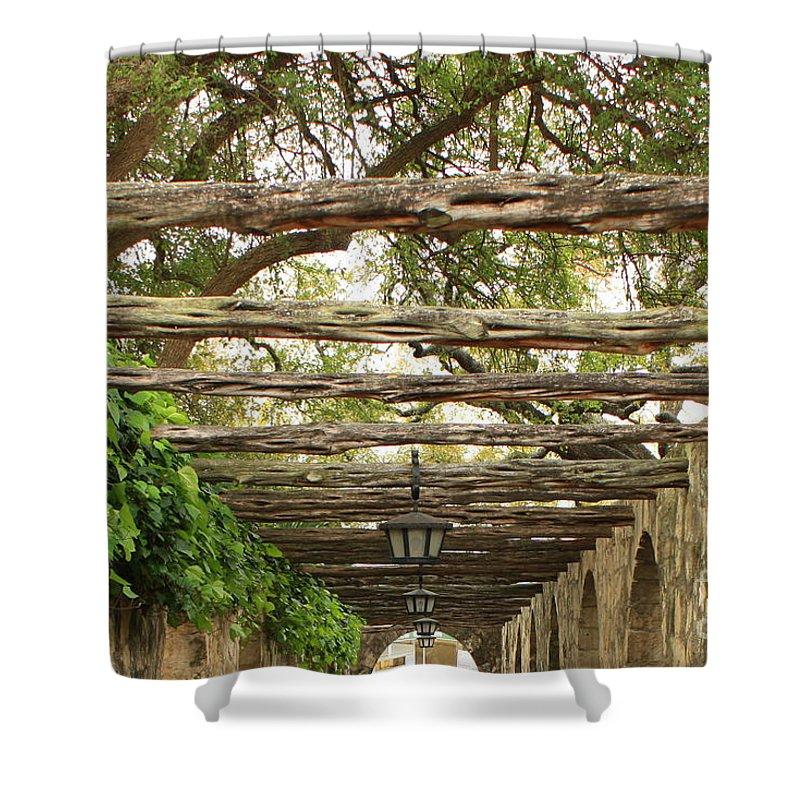 Alamo Walkway Shower Curtain featuring the photograph Alamo Walkway by Carol Groenen