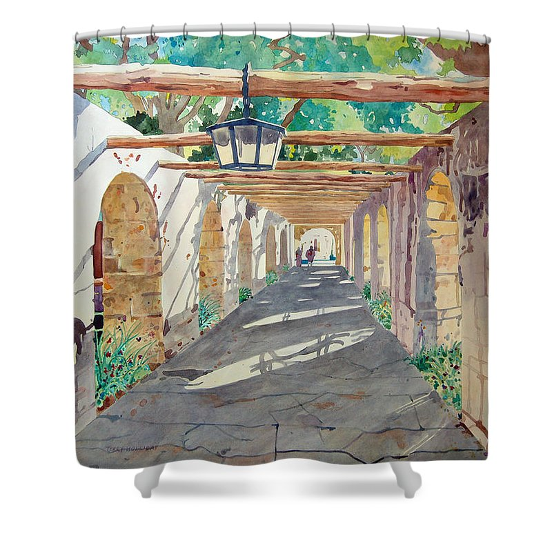 Alamo Shower Curtain featuring the painting Alamo Walkway by Terry Holliday
