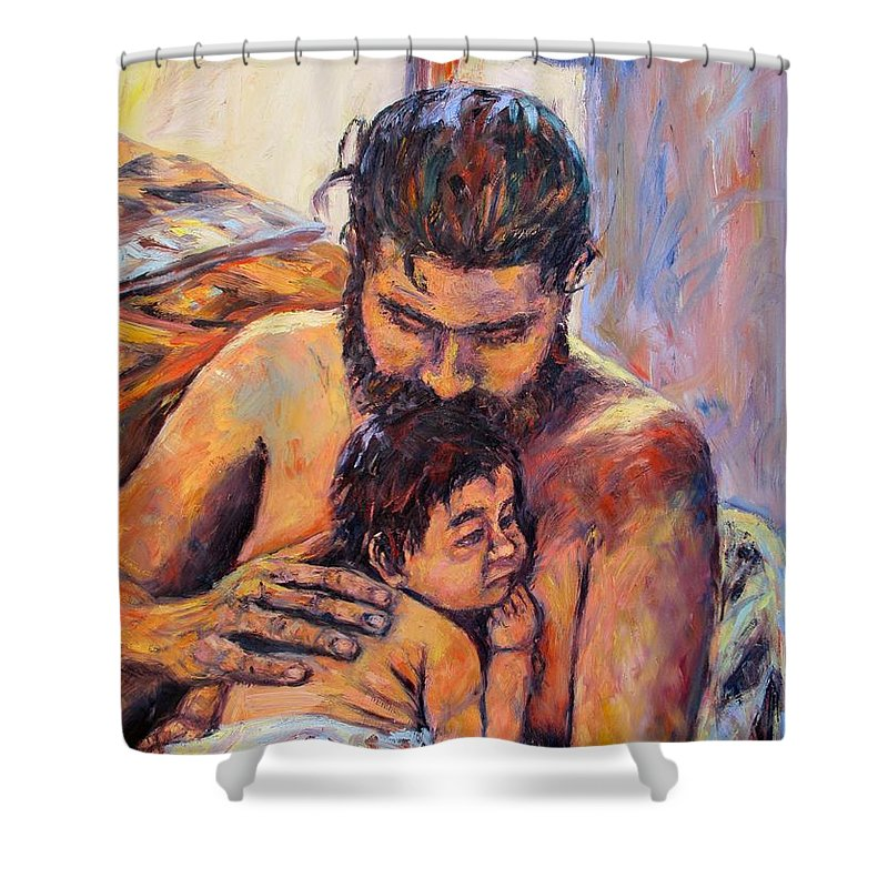 Kendall Kessler Shower Curtain featuring the painting Alan And Clyde by Kendall Kessler