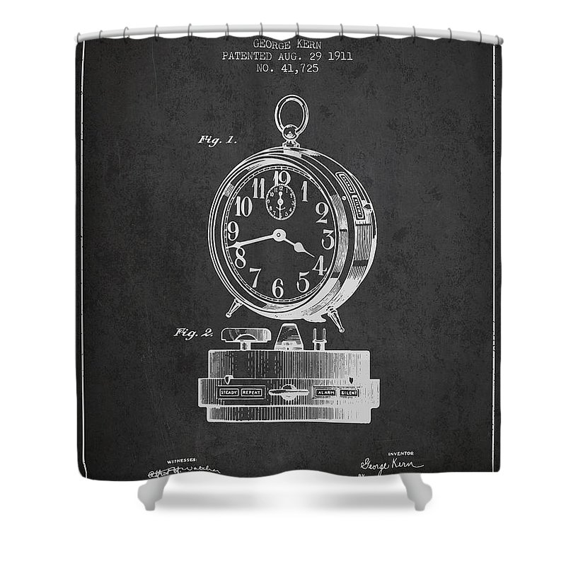 Alarm Clock Shower Curtain featuring the digital art Alarm Clock Patent From 1911 - Dark by Aged Pixel