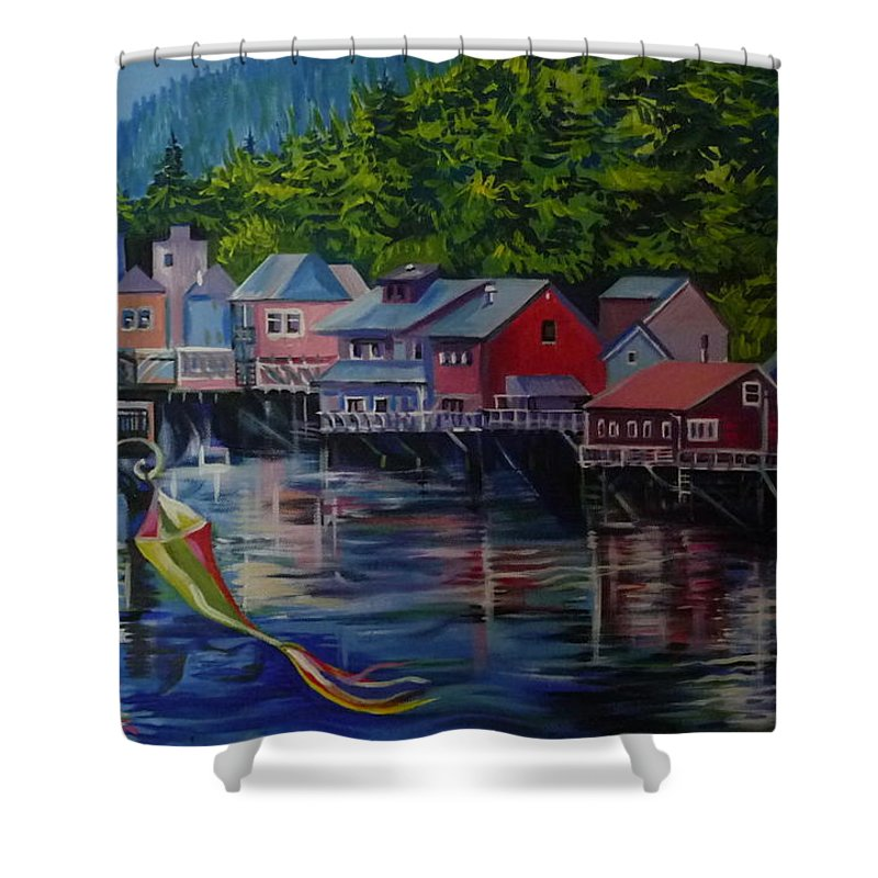 For Sale Shower Curtain featuring the painting Alaska. Ketchikan by Anna Duyunova