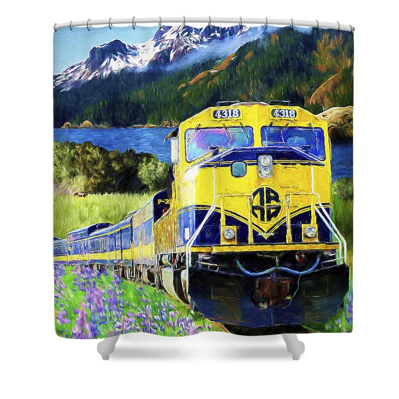 Railroad Shower Curtain featuring the painting Alaska Railroad by David Wagner