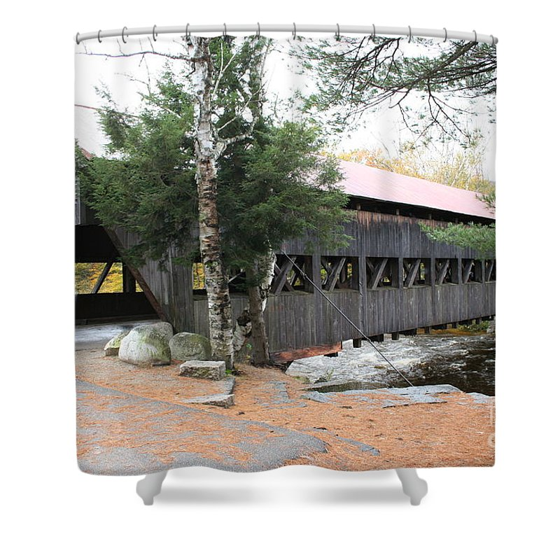 Covered Bridge Shower Curtain featuring the photograph Albany Covered Bridge by Christiane Schulze Art And Photography