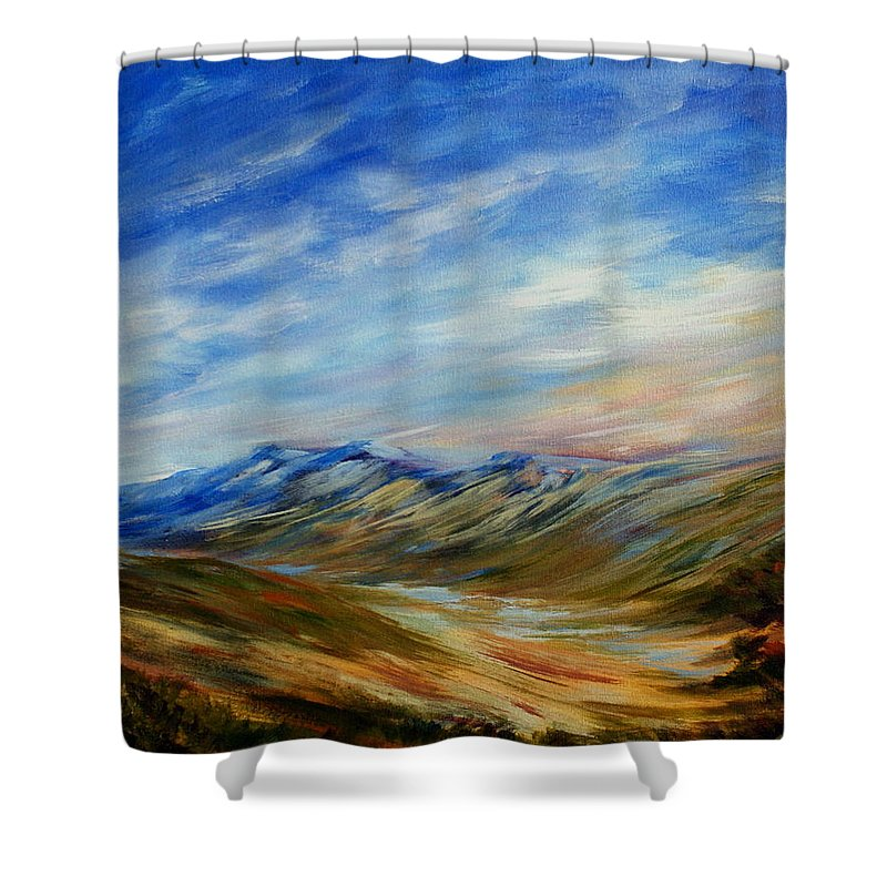 Alberta Moment Shower Curtain featuring the painting Alberta Moment by Joanne Smoley