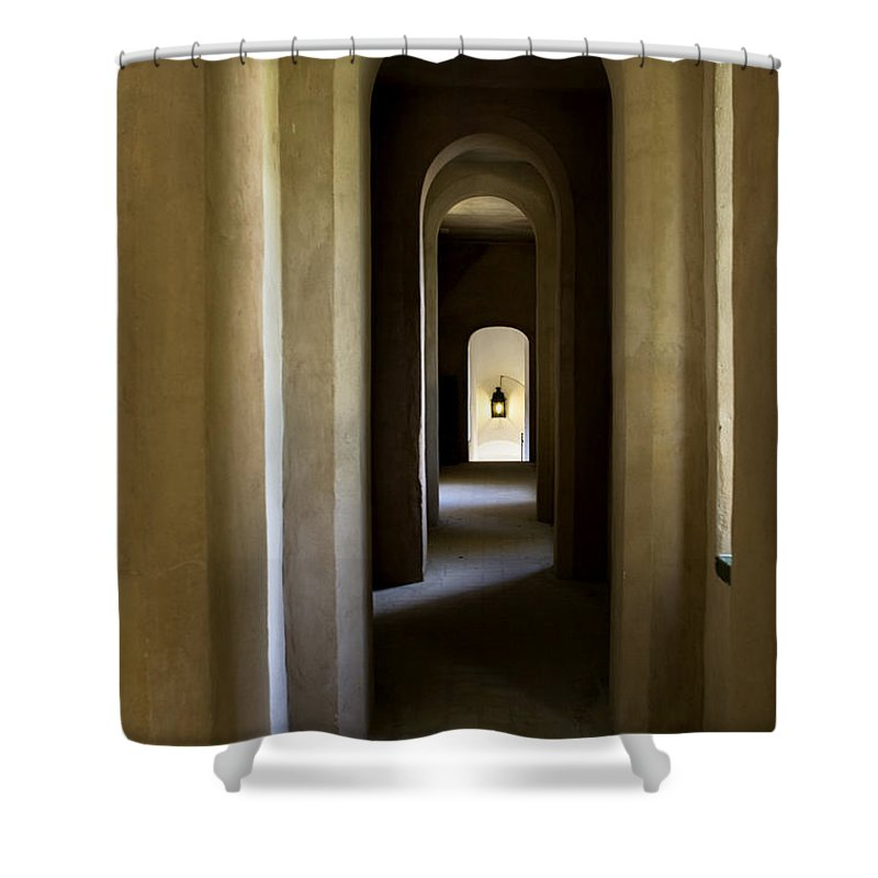 Seville Shower Curtain featuring the photograph Alcazar Arches Into Infinity by Lorraine Devon Wilke