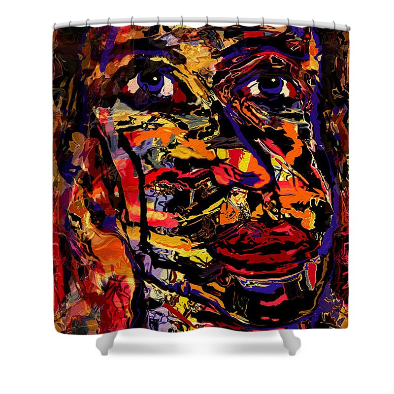 Man Shower Curtain featuring the mixed media Alejandro by Natalie Holland