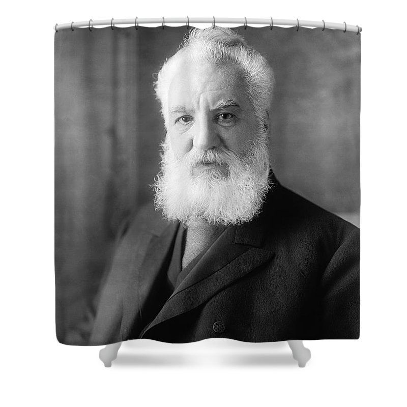 1 Person Shower Curtain featuring the photograph Alexander Graham Bell by Underwood Archives