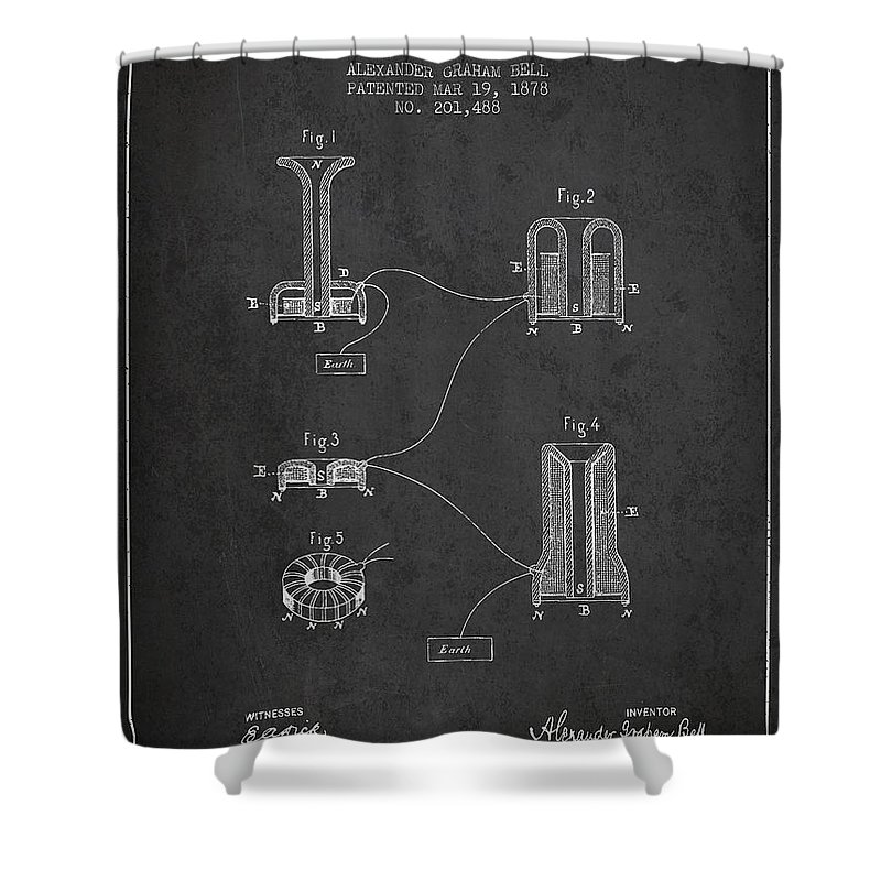 Alexander Graham Bell Shower Curtain Featuring The Drawing Speaking Telephone Patent From 1878