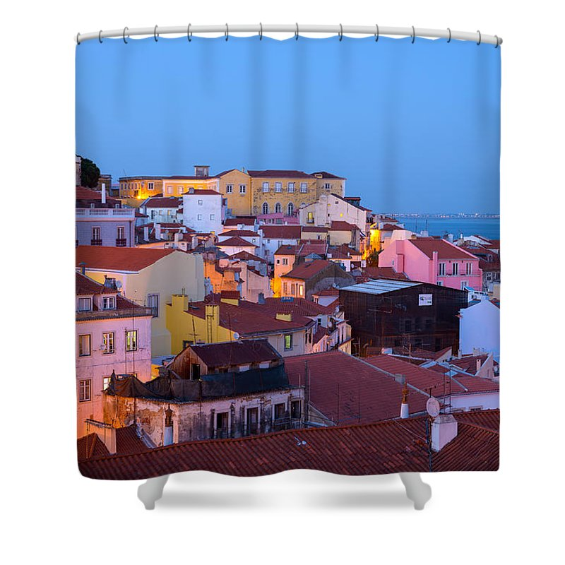 Lisbon Shower Curtain featuring the photograph Alfama Rooftops by Mark Robert Rogers