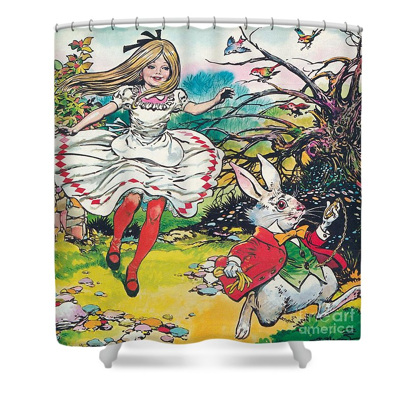Alice In Wonderland Shower Curtain Featuring The Painting By Jesus Blasco