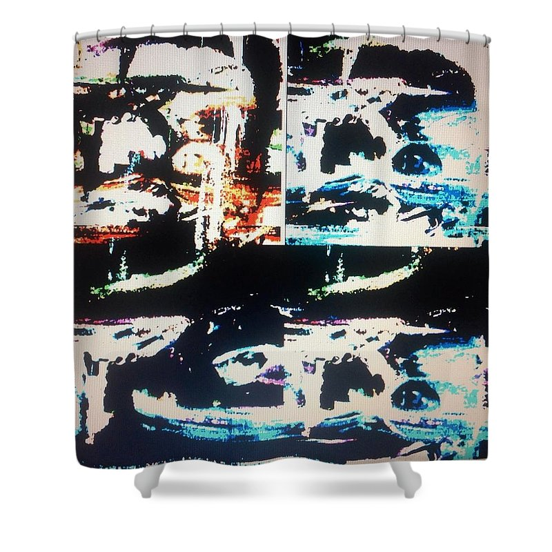 Alien Shower Curtain featuring the painting Alien Abduction by Judith Desrosiers