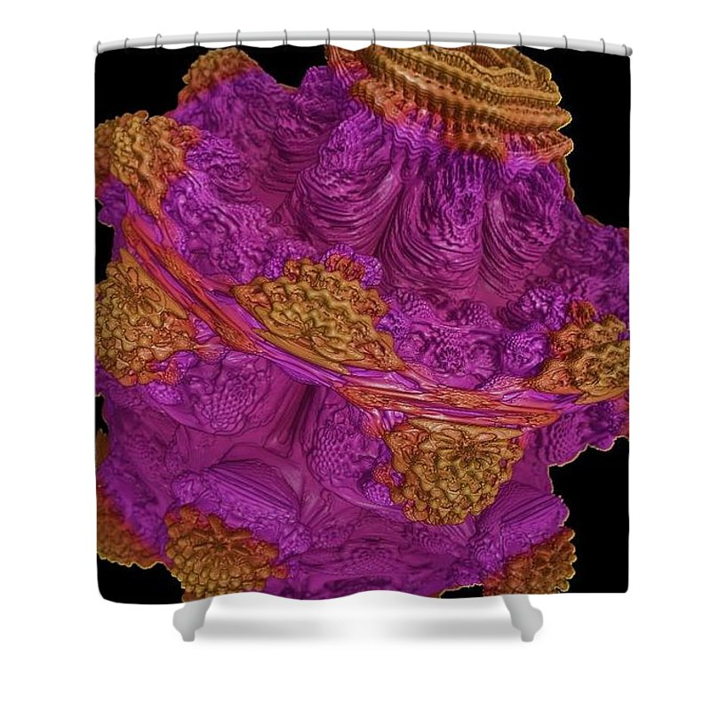 Fractals Shower Curtain featuring the painting Alien Brain by Bruce Nutting