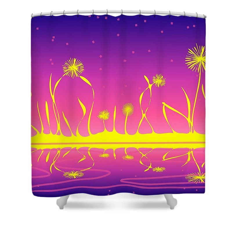 Malakhova Shower Curtain featuring the digital art Alien Fire Flowers by Anastasiya Malakhova
