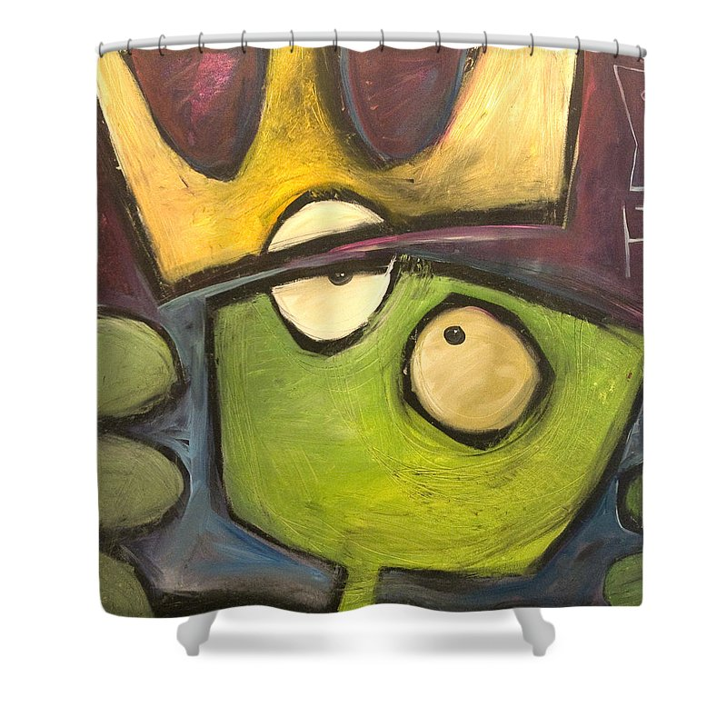 Alien Shower Curtain featuring the painting Alien King by Tim Nyberg