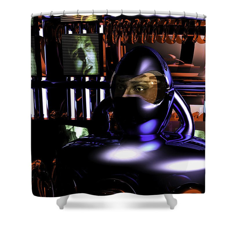 Alien Abduction Shower Curtain featuring the digital art Alien Mind Control by Bob Orsillo