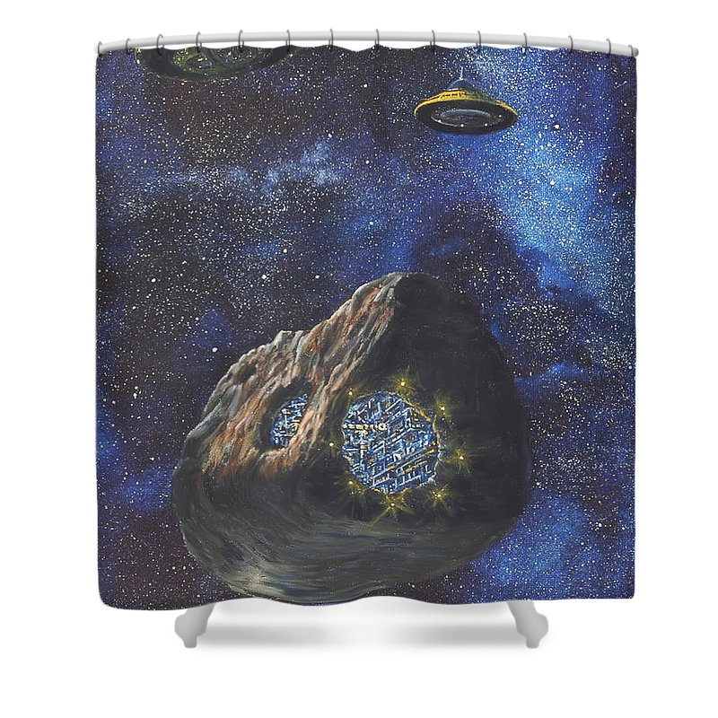 Painting Shower Curtain featuring the painting Alien Space Factory by Murphy Elliott
