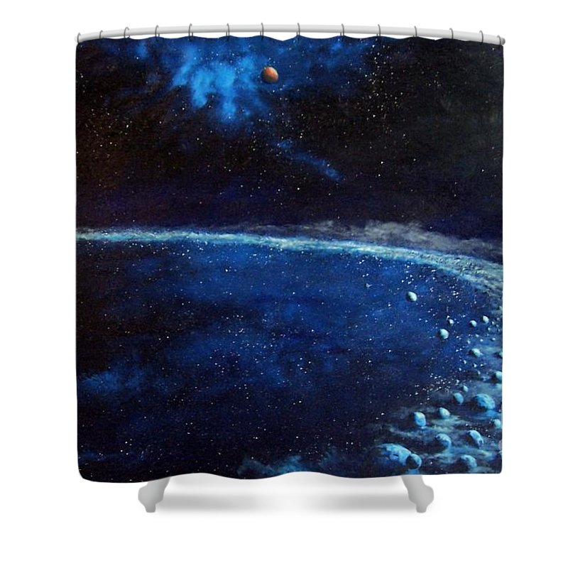 Space Shower Curtain featuring the painting Alien Storm by Murphy Elliott
