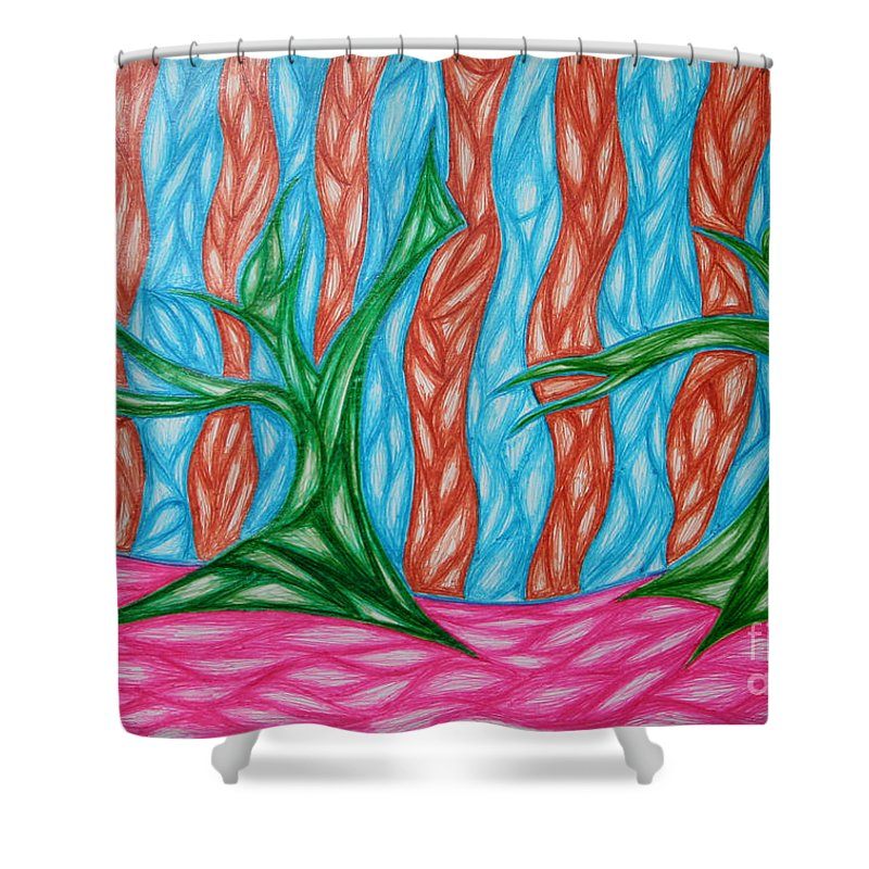 Green Blue Shower Curtain featuring the digital art Alien Sun Dance by Jamie Lynn