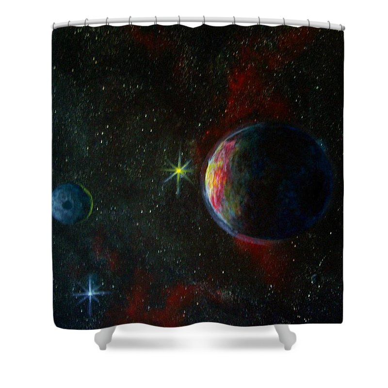 Cosmos Shower Curtain featuring the painting Alien Worlds by Murphy Elliott