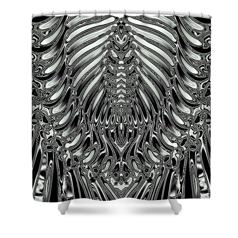 Alien Shower Curtain Featuring The Digital Art Aliens Skeleton And Skin Metal Texture Background 02 By