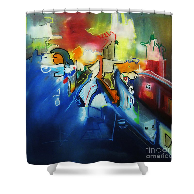 Colorful Shower Curtain featuring the painting All At Once by Jeff Barrett