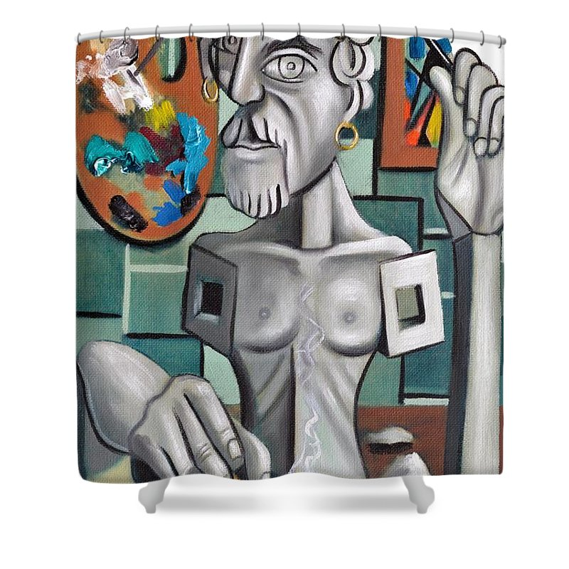 All In A Days Work Self Portrait Shower Curtain featuring the painting All In A Days Work Self Portrait by Anthony Falbo