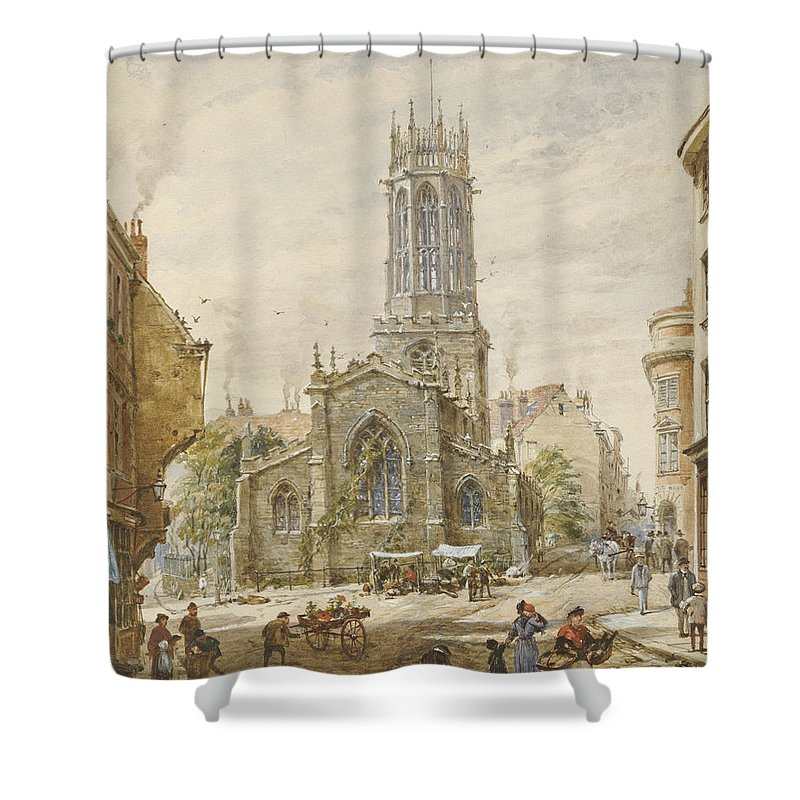 All Saints Pavement Shower Curtain featuring the painting All Saints by Louise Ingram Rayner