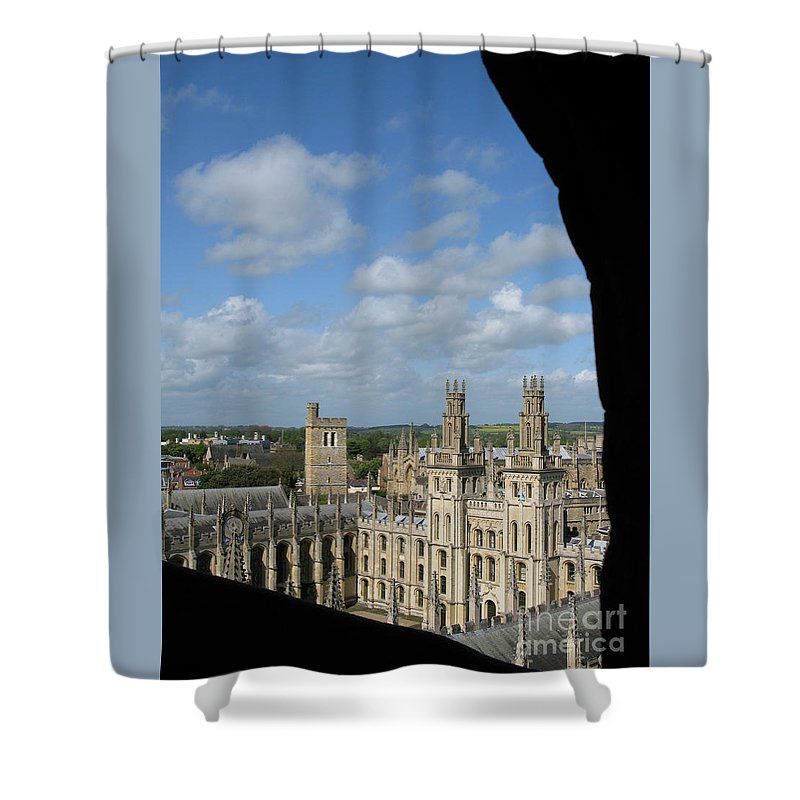 Oxford University Shower Curtain featuring the photograph All Souls College And Beyond by Ann Horn