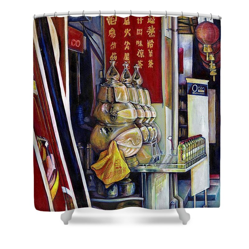 Gaye Elise Beda Shower Curtain featuring the painting Allegedly Probabilistic by Gaye Elise Beda