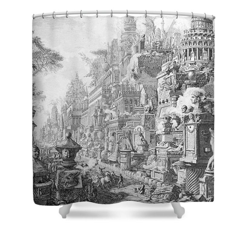 Allegory; Fantasy; Imagination; Imaginative; Architecture; Symbols; Ancient Rome Shower Curtain featuring the drawing Allegorical Frontispiece Of Rome And Its History From Le Antichita Romane by Giovanni Battista Piranesi