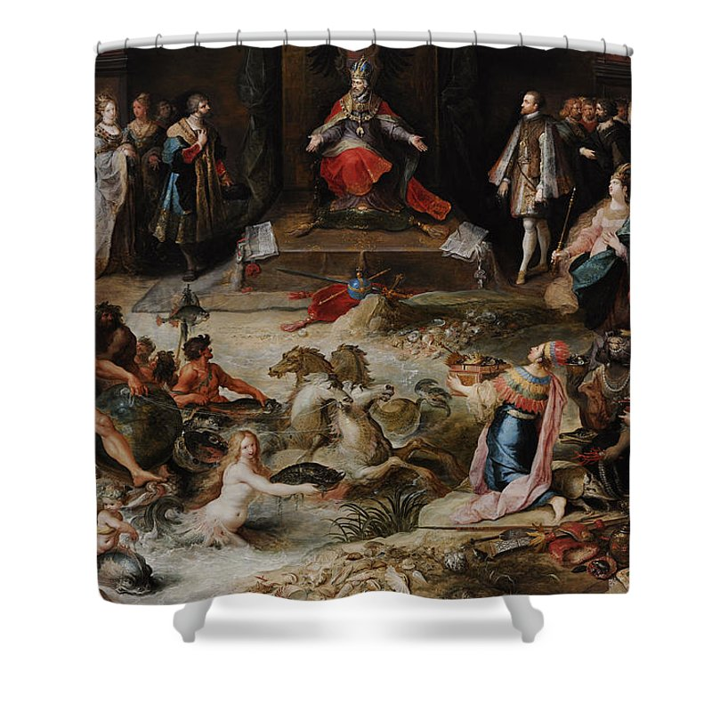 17th Century Shower Curtain featuring the photograph Allegory Of The Abdication Of Emperor Charles V In Brussels, C.1630-1640, By Frans Francken by Bridgeman Images