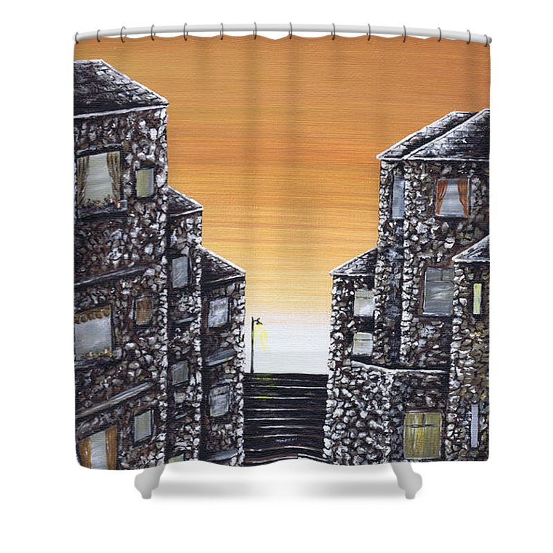 Alley Cat Shower Curtain featuring the painting Alley Cat by Kenneth Clarke