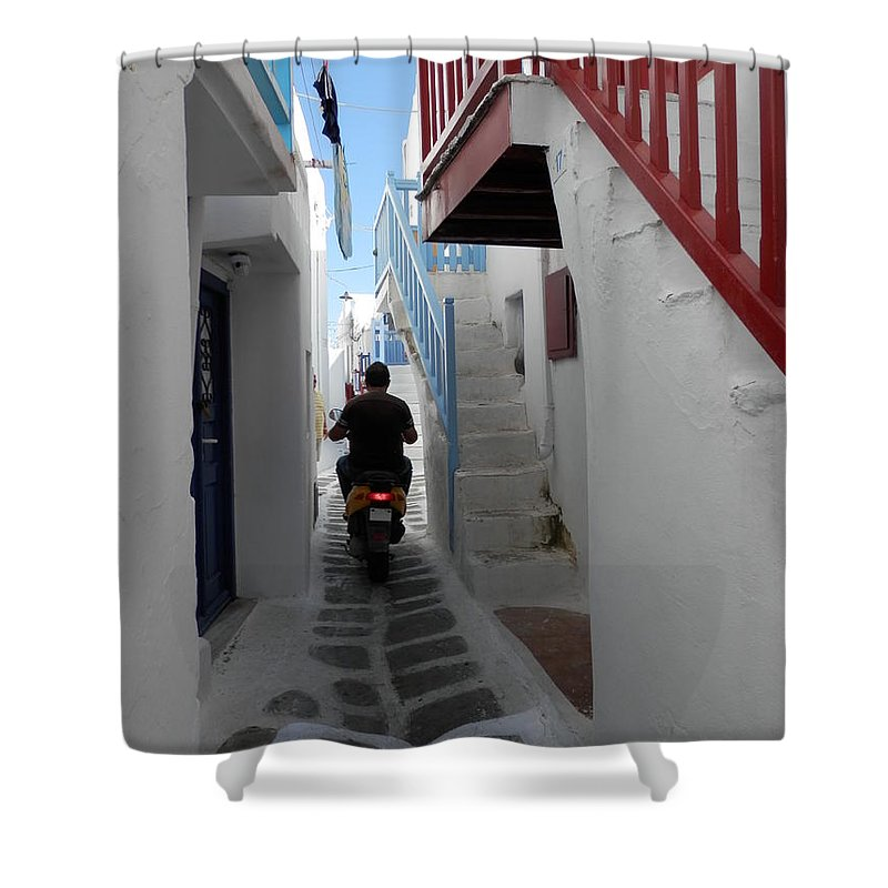 Alley Way Shower Curtain featuring the photograph Alley Way In Mykonos by Pema Hou