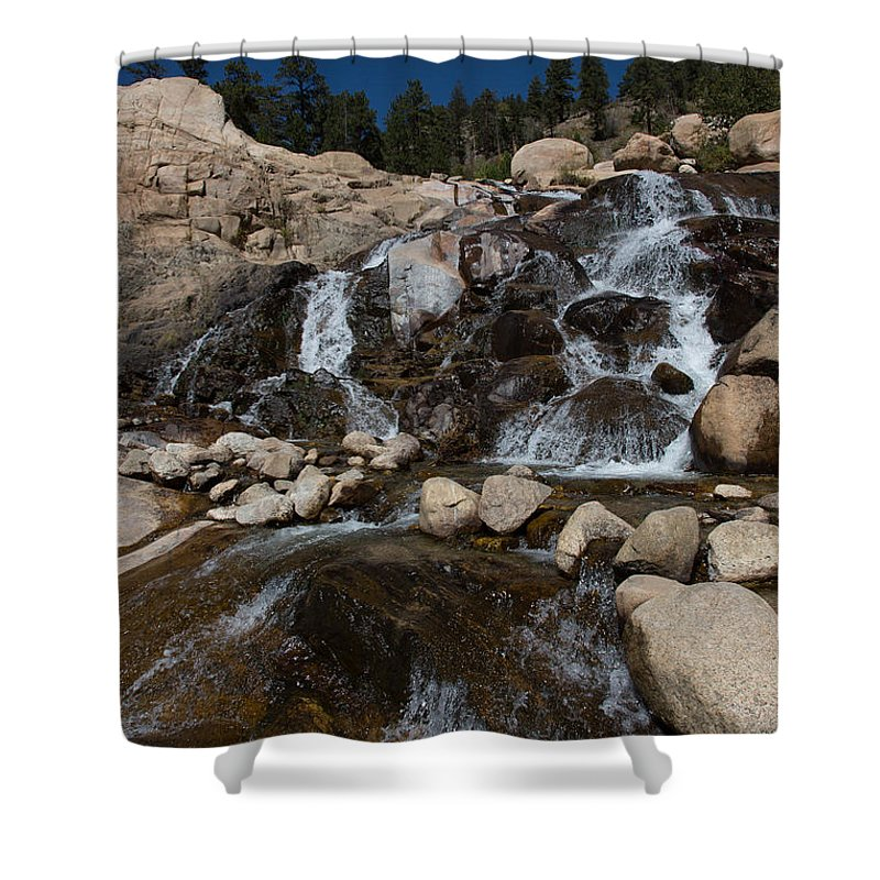 2012 Shower Curtain featuring the photograph Alluvial Wet Rocks by Josh Baker