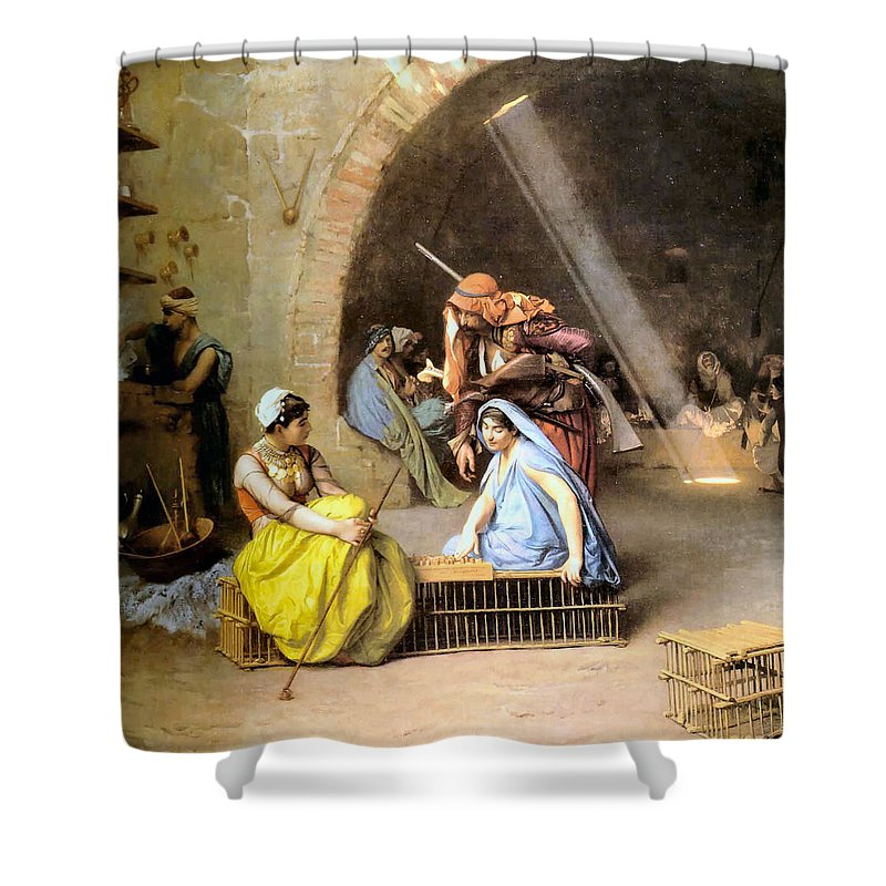 Jean Leon Gerome Shower Curtain featuring the digital art Almehs Playing Chess In A Cafe by Jean Leon Gerome