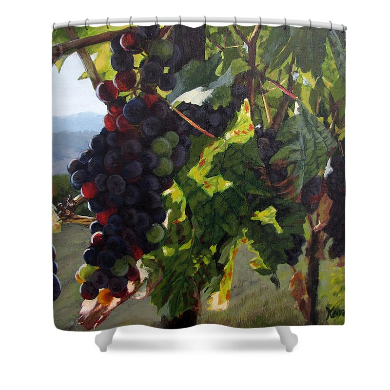 Grapes Shower Curtain featuring the painting Almost Harvest by Karen Ilari