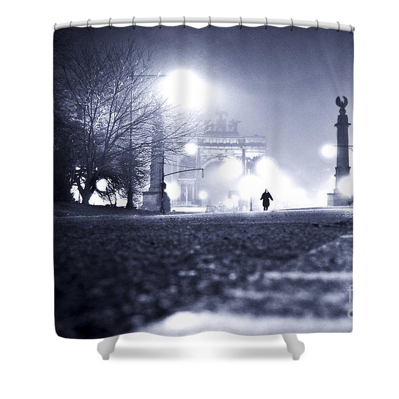 New York City Shower Curtain featuring the photograph Alone Brooklyn Nyc Usa by Sabine Jacobs