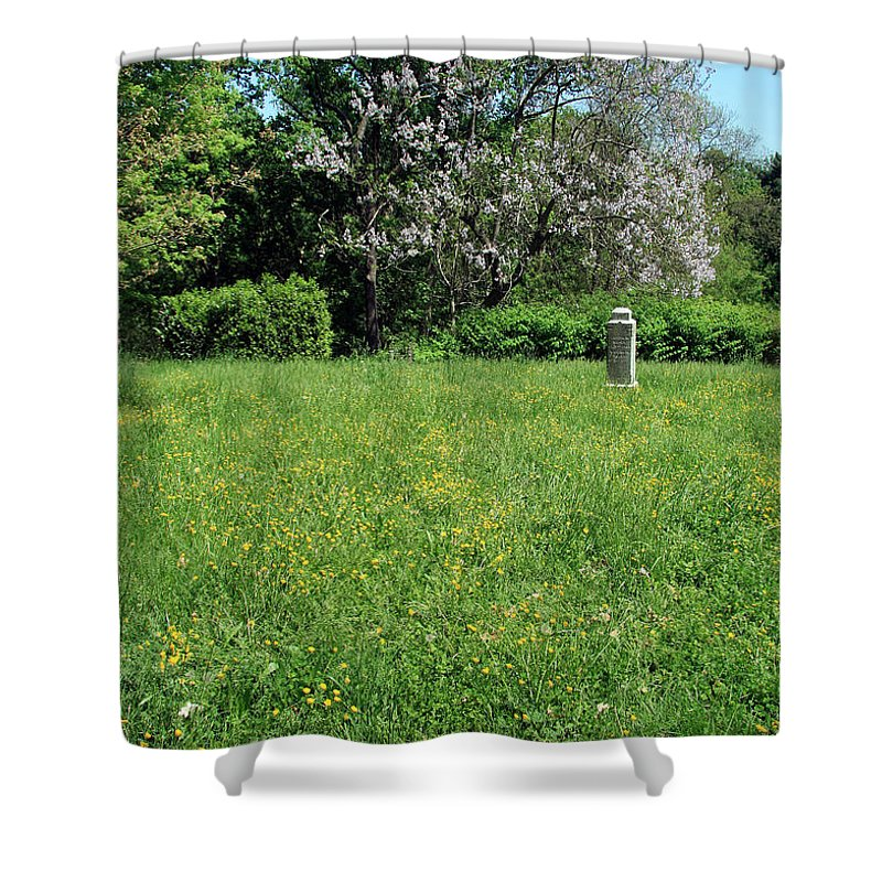 Tombstone Shower Curtain featuring the photograph Alone In A Field Of Buttercups by Cora Wandel