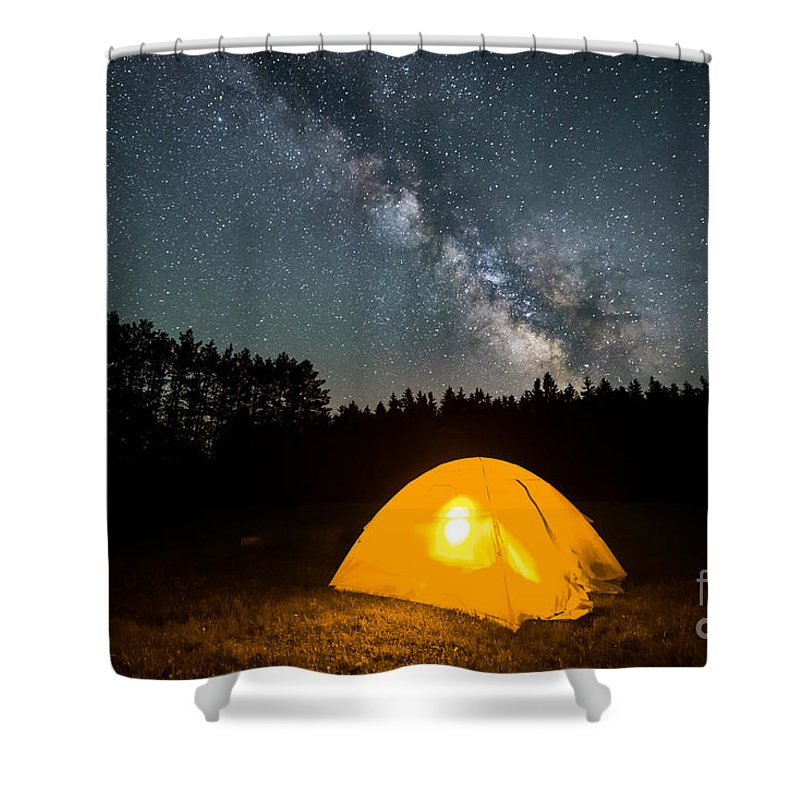 Tree Shower Curtain featuring the photograph Alone Under The Stars by Michael Ver Sprill