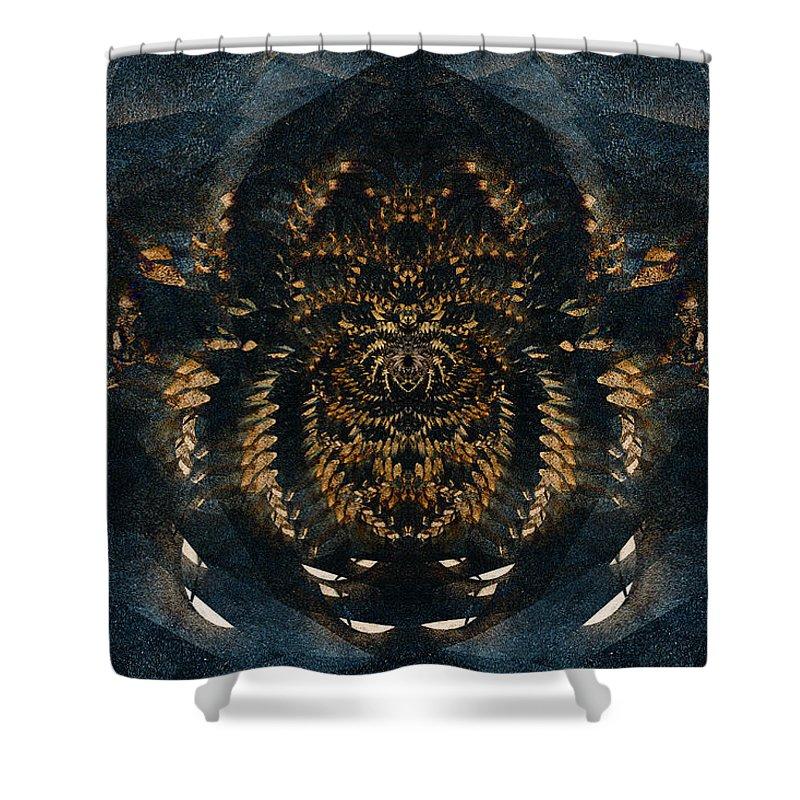 Abstract Shower Curtain featuring the digital art Along Came A Spider by Colette Panaioti