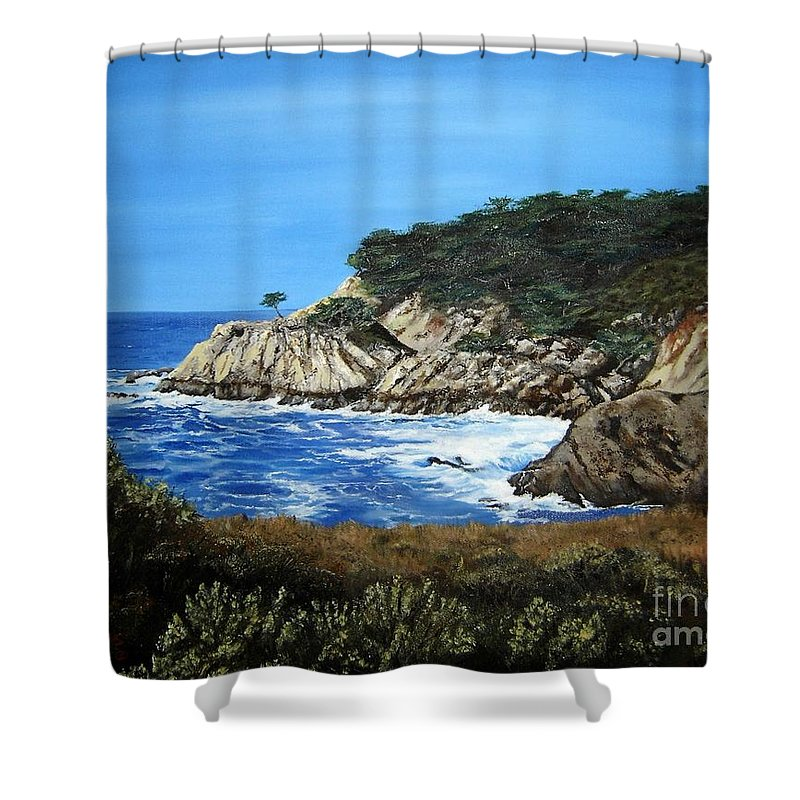 Landscape Shower Curtain featuring the painting Along The California Coast by Mary Rogers